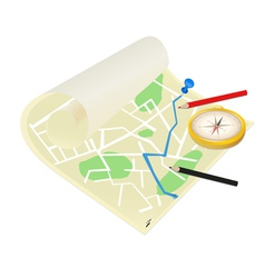 map of the city on a white background vector image