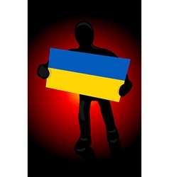 silhouette of a man with the flag of Ukraine and vector image