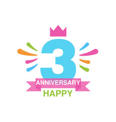 3rd anniversary colored logo design happy holiday vector image