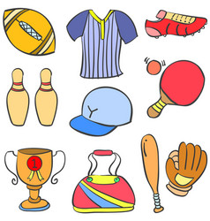 Collection stock of sport object equipment doodles vector