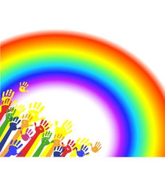 color hands palms with rainbow vector image vector image