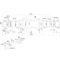 Engineering drawing of steel shaft vector