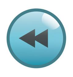 Flat black rewind button icon vector