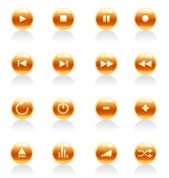 media button icons vector image vector image