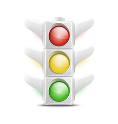 Realistic White Traffic Lights Icon vector image