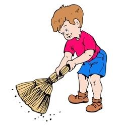 Boy with a broom vector image