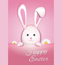cute easter bunny on a pink background happy vector image