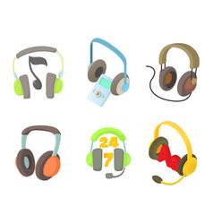 headset icon set cartoon style vector image vector image