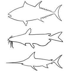 set of different big fish silhouettes vector image vector image