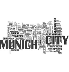 A tourist guide to munich text word cloud concept vector