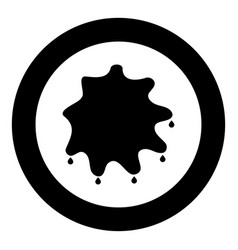 abstract ink blot black icon in circle isolated vector image