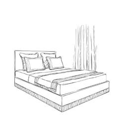 Bedroom interior sketch vector image