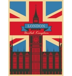 Big ben against british flag vector
