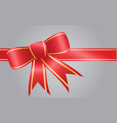 big red ribbon bow has gold trim vector image
