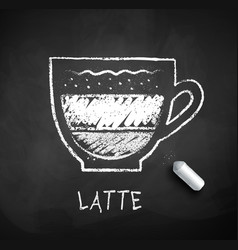 Black and white sketch latte coffee vector
