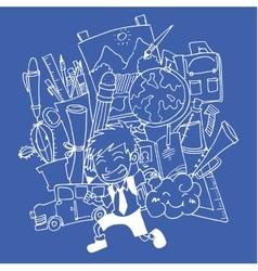 Blue backgrounds school doodle art vector