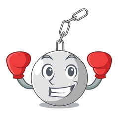 Boxing wrecking shattering ball on wall cartoon vector
