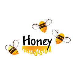 cartoon bees and honey flow background for vector image
