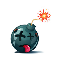Cartoon bomb fuse wick spark icon dead smiley vector