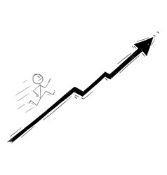 cartoon businessman running up chart or vector image