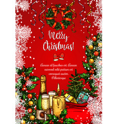 Christmas holiday festive dinner sketch banner vector