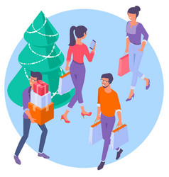 christmas people with shopping bags vector image