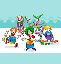 circus clowns cartoon characters group vector image