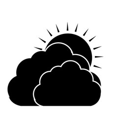 Clouds and sun icon vector