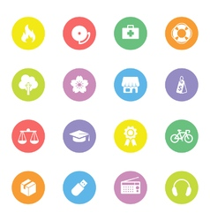 Colorful simple flat icon set 6 on circle vector image
