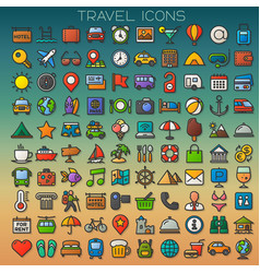 Colorful travel line icons set vector