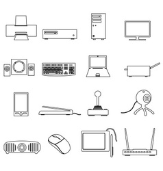 computer peripherals black outline icons set eps10 vector image