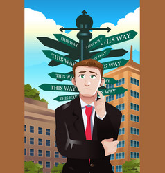 Confused businessman under a street sign with vector