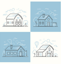 cottage houses - set of thin line design style vector image