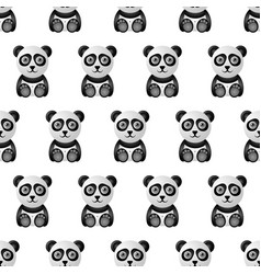 cute and funny panda character seamless pattern vector image