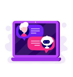 cute chat bot chatting with man vector image