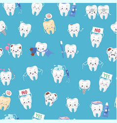 Cute healthy and ill white teeth seamless pattern vector
