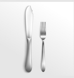 cutlery set silver fork and knife laying 3d vector image