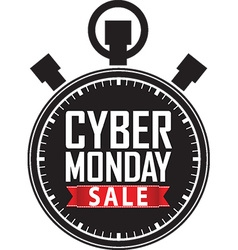 Cyber monday sale stopwatch black icon with red vector image