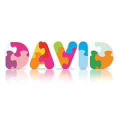 DAVID written with alphabet puzzle vector