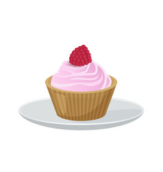 Delicious cupcake covered with soft tender cream vector