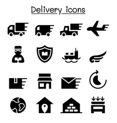 Delivery logistic icon set vector