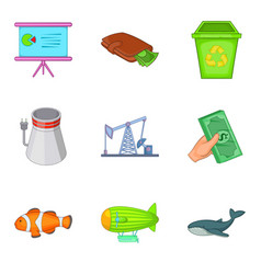 Destroy the nature icons set cartoon style vector