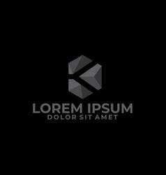 diamond logo template with modern cube vector image