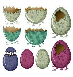 Different patterns of dinosaur eggs vector