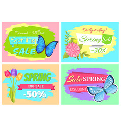 Discount 45 off today spring sale stickers set vector