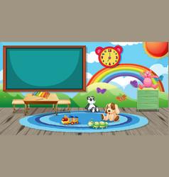 Empty kindergarten classroom interior vector