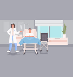 Female doctor visiting ill man patient lying vector