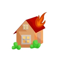 Fire insurance icon cartoon style vector image
