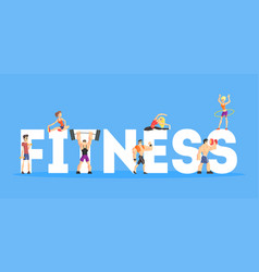 Fitness banner template people doing diversity vector