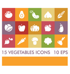 Flat icons of vegetables icons vector